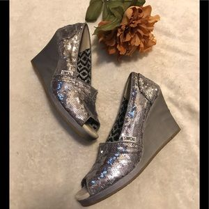 Toms silver sequined wedges